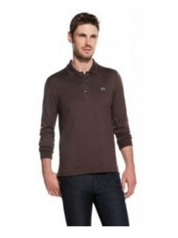Lacoste Long Sleeve Pique Polo Shirt Brown