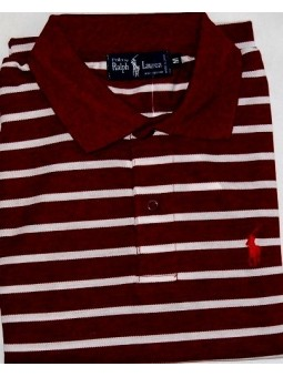 Ralph Lauren Stripe Polo Shirt Burgandy/white Stripe