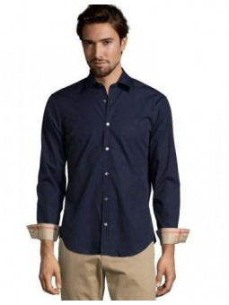 Burberry London Men's Long Sleeve  Check Inner Collar Navy