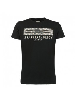 Burberry Men's Crew Neck Graphic Cotton T-Shirt Black