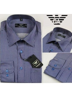 Armani Men's Navy Stripe  Button Down Shirt