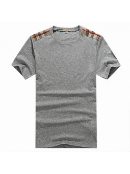 Burberry Men's Gray Crew Neck  Check Graphic Cotton T-Shirt