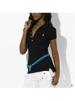 Polo Ralph Lauren Skinny FIit Stretch  Mesh Polo Shirt Black
