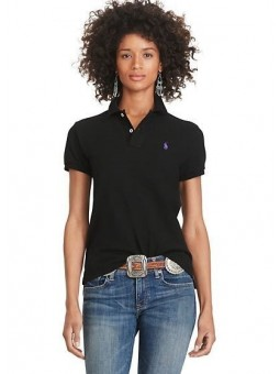 Ralph Lauren Women's Skinny Fit Cotton Mesh Polo Shirt Black