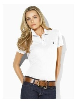 Ralph Lauren Women's Skinny Fit Cotton Mesh Polo Shirt White