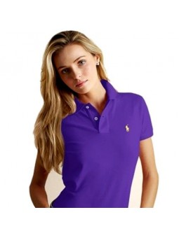 Ralph Lauren Women's Skinny Fit Cotton Mesh Polo Shirt Purple