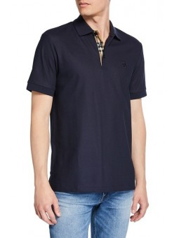 Burberry Check Placket Pique Cotton Polo Shirt Navy