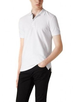Burberry Check Placket Piqué Cotton Polo Shirt White
