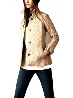 Burberry Women's Quilted Button Trench Jacket Beige