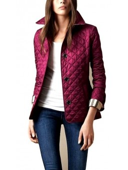 Burberry Quilted Button Trench Jacket Burgundy