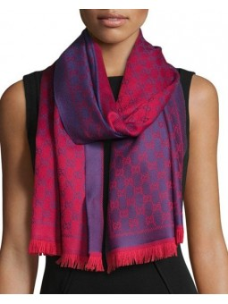 Gucci Reversible Wool Stencil Scarf Purple/Red