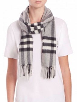 Burberry Exploded Giant Check Cashmere Scarf-Gray