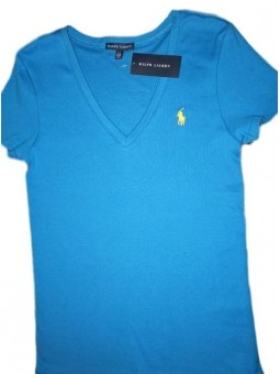 Polo Ralph Lauren Women's V Neck T Shirts Turquoise