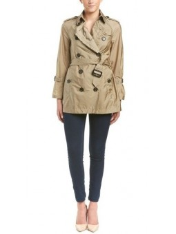 Burberry Packaway Ruffle Detail Showerproof Trench Coat