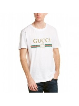 GUCCI Logo Men's Graphic T-Shirt -White