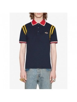 GUCCI Men's Stripe Sleeve Bee Polo Shirt  Navy