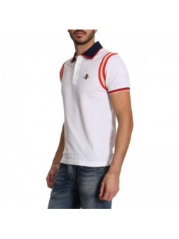 GUCCI Men's Stripe Sleeve Bee Polo Shirt  White