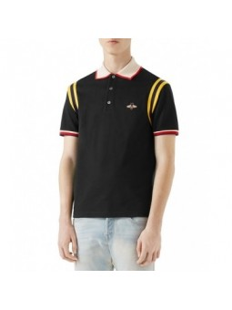 GUCCI Men's Stripe Sleeve Bee Polo Shirt Black