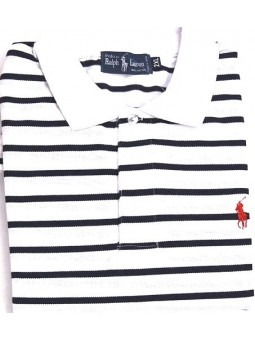 Ralph Lauren Stripe Polo Shirt Royal/white Stripe