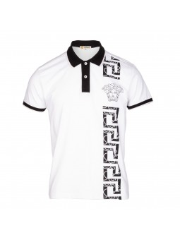 Versace Collection Men's Decorated Polo Shirt  White