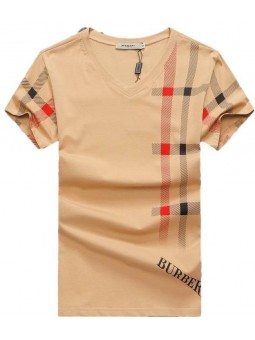 Burberry Lanesbury Men's V Neck Check Graphic Cotton T-Shirt