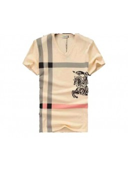 Burberry Monogram Men's V Neck Check Graphic Cotton T-Shirt