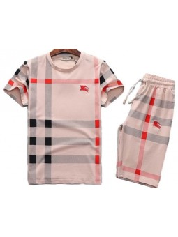 Burberry Men's Crew Neck Check Graphic C T-Shirt & Short Set