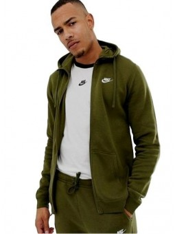 Nike Sportswear Club Fleece Men's Full Zip Hoodie & Pants Set Olive Green