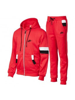 Nike Swoosh Full-Zip Hoodie & Pants Set -Red