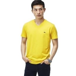 Lacoste Men's Pima Cotton V-Neck T-Shirt Yellow
