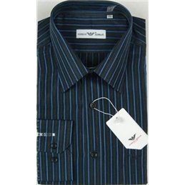 Giorgio Armani Men's Black W Navy Pin Stripe Button Down