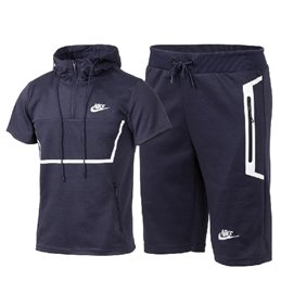 Nike Men's Short-Sleeve Full Zip Training Hoodie & Short Set