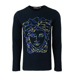 Versace Embellished Medusa Logo Long Sleeve T-Shirt