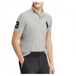 Polo Ralph Lauren Men's Custom-Fit Big Pony Mesh Polo Shirt Gray